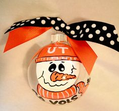 Tennessee Vols College School Spirit Sports Football Team Hand Painted Christmas Tree Ornament Personalized. $10.00, via Etsy.