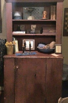 Country Cupboard, Primitive Decor, Cupboards, Pilgrim, Primitives, Desks, Vignettes, Liquor Cabinet, Home Goods