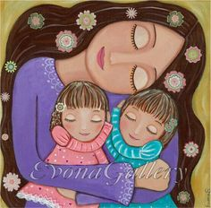 Mother's Love Mixed Media, Wall Decore by Evona Mutters Liebe 2 Mixed Media Wall Decore von Evona von Evonagallery, US-Dollar Mother Daughter Art, Mother And Child, Art Fantaisiste, Media Wall, Patchwork Quilting, Arte Popular, Mothers Love, Whimsical Art, Rock Art