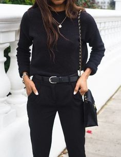 You Only Need 10 Neutral Staples to Create an Endless Wardrobe — MappCraft Source by nineofjuly black outfit casual Casual Chic Outfits, Business Casual Outfits, Business Attire, All Black Outfits For Women, All Black Outfit Casual, All Black Style, Black Work Outfit, Mode Outfits, Fashion Outfits