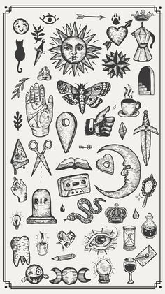 a collection of hand drawn vector vintage graphic design elements. Mini Tattoos, Dog Tattoos, Body Art Tattoos, Small Tattoos, Sleeve Tattoos, Finger Tattoos, Upper Leg Tattoos, Side Hand Tattoos, Random Tattoos
