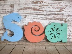 Sea word wood sign beach decor cottage rustic distressed shabby chic via Etsy