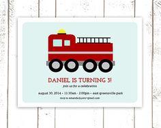 Fire Truck Invitations, Firetruck Birthday Invitations, Red and Aqua Party Invitations, Boy Birthday Party