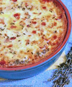 Mozzarella Potato & Bacon Quiche - the crust ( no-roll crust!) is made using olive oil, so it gets crispy.