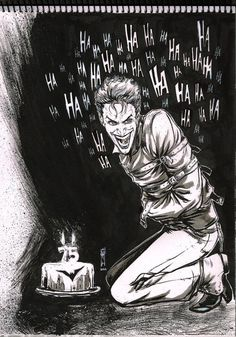 Joker also celebrate 75 Year Of Batman Fan art Quick Sketch Using Ink brush and marker pen Joker For 75 Year of Batman Nightwing, Batwoman, Harley Quinn Et Le Joker, Le Joker Batman, Batman Stuff, Art Du Joker, Der Joker, 3 Jokers, The Man Who Laughs