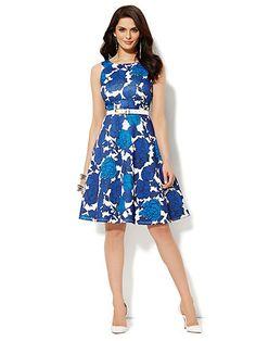Scuba Flare Dress - Floral   - New York & Company