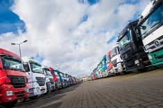 Rows of big Mercedes Benz trucks in our stock
