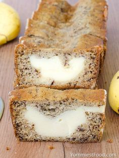 Cream Cheese Banana Bread Cream Cheese Banana Bread – light, moist and delicious! Cream Cheese Banana Bread – one of the best breads you will ever make! Perfect for breakfast, snack and dessert! Banana Bread Light, Banana Bread Cream Cheese, Delicious Desserts, Dessert Recipes, Yummy Food, Banana Bread Recipes, Banana Cheesecake Bread, Banana Bread Brownies, Banana Nut Bread