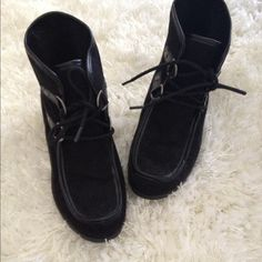 Black wedge suede boots Winter Wedge boots. Women size: UK size 4  USA size 6 Nine West Shoes