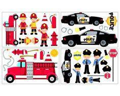 Perfect  teiliges Feuerwehr Polizei Wandtattoo Set Feuerwehr Polizei Wandtattoo Set