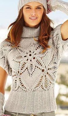 Gray Sweater Top free knitting graph pattern www. Wish this pattern was in english! Knitting Patterns, Crochet Patterns, Sleeveless Turtleneck, Turtleneck Top, Knitting Designs, Crochet Clothes, Pulls, Free Knitting, Ideias Fashion