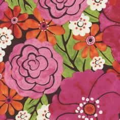 C4321 TRIBECA PINK MAYA Watercolor Floral - Timeless Treasures Quilt Shop Fabric, Pink and Orange Flowers, Green Leaves, White and Brow by MaterialGirlsQuilt on Etsy