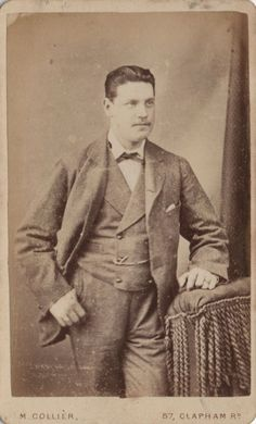 """CDV photo of a Handsome Victorian Man taken in London around late 1870s by M. Collier at his studio located at 57 Clapham Road, North Kennington Park. Traded under """"Collier de Paris""""."""
