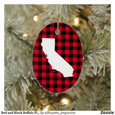 Red and Black Buffalo Plaid California Shape Ceramic Ornament