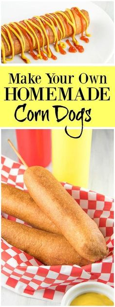 Easy recipe for making Corn Dogs at Home! - recipe from http://RecipeGirl.com