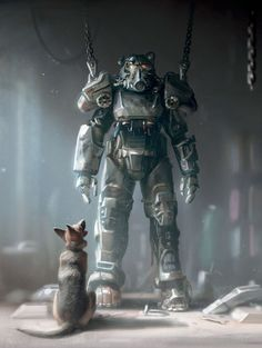 Concept art for Power Armor Garage scene in Fallout Power armor was designed by Istvan Pely. Fallout New Vegas, Fallout Art, Fallout 4 Concept Art, Fallout 4 Weapons, Fallout 4 Funny, Fallout Power Armor, Fallout Tattoo, Fallout Posters, Dogmeat Fallout