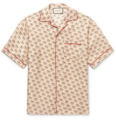 Gucci - Camp-Collar Piped Logo-Print Silk-Twill Shirt