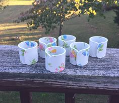 Napkin Rings  White Floral Retro Napkin Rings Set of 6 by TheCookieClutch on Etsy