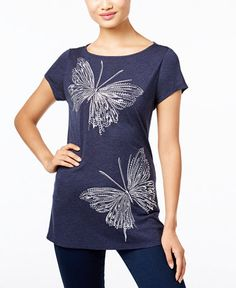 INC International Concepts Embroidered Butterfly T-Shirt, Size Medium