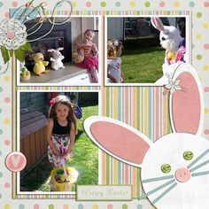 Single page ~ three photos; Easter; punch art bunny