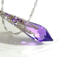 Purple Crystal Necklace Sterling Silver Chain Swarovski Crystal Purple Pendant Necklace Amethyst Necklace