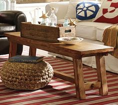 love this coffee table for your living room.  It's skinny, so it doesn't take up too much room, which would work perfectly for your long narrow living area.  And it's cottage-y.  And cool. :)