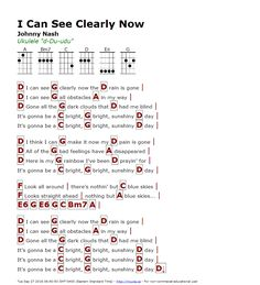 I Can See Clearly Now (Johnny Nash) - http://myuke.ca