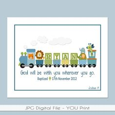 Boys Personalized Train PRINTABLE 8×10 with Bible verse, baptism date, birth info – Great for a Baptism Gift, Baby Gift or the Nursery.