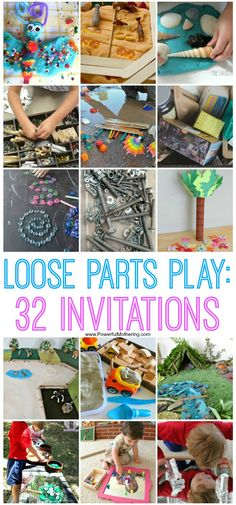 Loose parts come in all different shapes, sizes and colors. They stimulate the imagination and develop fine motor skills in kids of all ages. Set up invitations to play and see the true beauty of childhood innocence come forth while kids explore their pro Early Learning Activities, Play Based Learning, Learning Through Play, Preschool Activities, Nutrition Activities, Preschool Curriculum, Group Activities, Creative Activities, Homeschooling