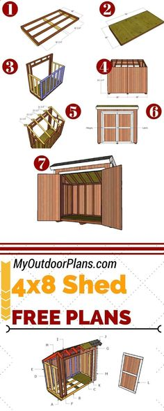 Shed Plans - Build a 4x8 lean to storage shed for the backyard, so you can keep all the tools organized. Full plans at MyOutdoorPlans.com #diy #shed - Now You Can Build ANY Shed In A Weekend Even If You've Zero Woodworking Experience! #woodworkathome #buildsheddiy #buildingashed #backyardshed #buildashed #shedplans #shedorganization #diyshedplans