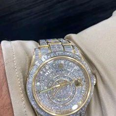 Rolex Diamond Watch, Diamond Watches For Men, Fancy Watches, Expensive Watches, Expensive Jewelry, Luxury Watches For Men, Diamond Grillz, Rapper Jewelry, Unusual Jewelry