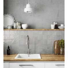 Ivy Hill Tile Amagansett Grey 4 in. x 4 in. / box) - - The Home Depot grau Ivy Hill Tile Amagansett Grey 4 in. x 4 in. Grey Backsplash, Kitchen Backsplash, Grey Kitchen Wall Tiles, Kitchen Soffit, Rustic Backsplash, Backsplash Design, Kitchen Grey, Kitchen Walls, Kitchen Remodelling