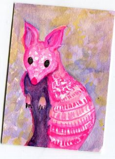 Pink Armadillo Painting ACEO Original by SharonFosterArt on Etsy, $10.00