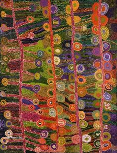 """Ngayuku ngura (My Country)"" Wawiriya Burton This apppears to be a painting from an aboriginal artist from Australia...Love the contrast of the values and colors."