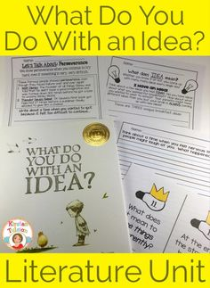 What Do You Do With an Idea by Kobi Yamada is a new, Independent Publisher's Book Award winning picture book. This literature unit is appropriate for grade. Students will find fun, engaging activities that make them think outside the box. Readers Workshop, Writer Workshop, Leadership Workshop, Book Activities, Teaching Resources, Sequencing Activities, Teaching Materials, Teaching Ideas, Reggio