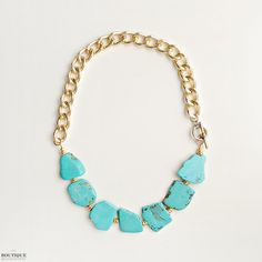 Turquoise and Gold Statement Necklace. $54.00, via Etsy. // Looks like Debbie