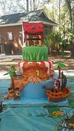 Jake and the Neverland pirates cake, pirates, birthday boy  If you're in the Tampa Bay area and need a unique and delicious cake like this, contact me Solia at 813-484-1081 or email me at myangelspartyrescues@gmail.com for prices.
