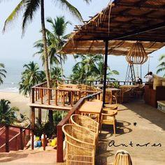 Antares Restaurant & Beach Club, Goa India by Sarah Todd Restaurant Layout, Art Restaurant, Goa India, Beach Shack, Beach Holiday, Beach Club, Beach Themes, Outdoor Furniture, Outdoor Decor