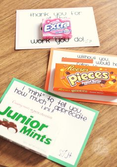 "Appreciation ""Sweet"" Notes - great idea for appreciation day for the office staff/counselors/custodians."