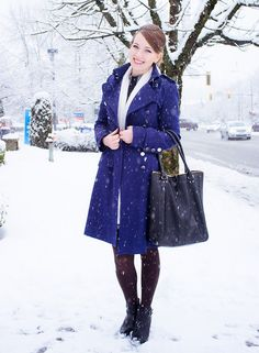 snow day in a royal blue coat | wig extension sale