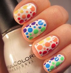 Trade rainbow stripes for spots with this pride nail art design. Keep reading to see all of the best rainbow nail art. Rainbow Nail Art Designs, Dot Nail Designs, Nails Design, Fancy Nails, Diy Nails, Pretty Nails, Dot Nail Art, Polka Dot Nails, Polka Dots