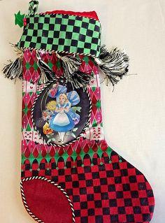 Disney Alice In Wonderland Singing Flowers Mushrooms Tassels Christmas Stocking  #Disney
