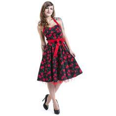 """#Abito """"Cherry Dress"""" del brand H&R London con cerniera laterale, ciliegie stampate su tutto il capo, allacciatura dietro al collo, sottogonna in tulle e fascia in vita che può essere chiusa sul fianco. lu.: 94 cm circa."""