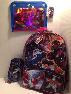 Captain America Civil War Backpack Zippered Pencil Case 3 Hole Punched Pouch | eBay