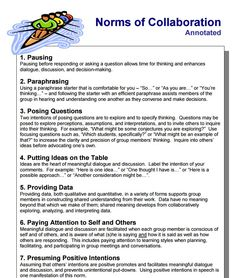 The Seven Norms of Collaboration is a practice used by team members to ensure productive conversation. Pick one of these to focus on at each meeting, select a person who will observe team interactions during the meeting, and report back to the group on how they did. More info at http://www.thinkingcollaborative.com/norms-collaboration-toolkit/