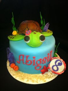 I am loving this cake!  6 cake and matching cupcakes. White cake/buttercream icing. The turtle is RKT covered in fondant. All other decorations are fondant.