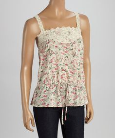Take a look at the Aryeh White & Pink Floral Lace Tank on #zulily today!