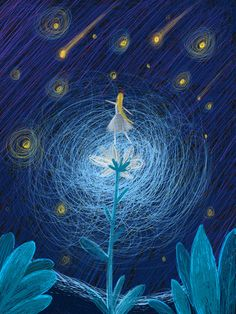 Original Healing Is A Girl Dancing Under The Stars illustration image Art And Illustration, Fantasy Paintings, Fantasy Art, Under The Stars, Star Art, Girl Dancing, Aesthetic Art, Van Gogh, Cute Art
