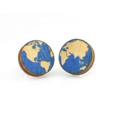 Looking for an eco-friendly gift idea? These handcrafted wooden earrings are available in a number of cute prints and are made in the USA. Mounted on a recyclable cardboard display card and completely plastic-free. This particular style is the earth stud earring. Show your love for the planet with wooden earth stud earrings. Find eco-friendly earrings online made in the USA Jewelry Show, Jewelry Tree, Wooden Earrings, Gold Earrings, Sustainable Gifts, Linens And More, Lightning Bolt, Green Trees, Gold Studs