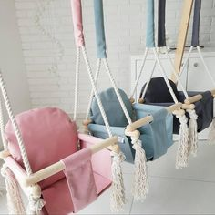 "Tiggy's Boutique on Instagram: ""NEW bunny swings 😍😍😍 Keep your little one entertained indoors ~ swing and play or sit and relax!! 💕 Available online in pink, green and…"" Magic Crafts, Crafts To Do, Bamboo Blanket, 2 Kind, Play Pool, Kids Wood, Everything Baby, Cotton Rope, New Product"